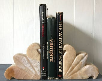 vintage onyx lotus flower bookends - mid century white marble - library desk office