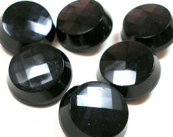 "6 Vintage chunky black glass buttons, 7/8""."