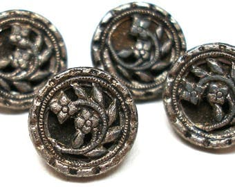 "1800s Antique BUTTONs, 4 Victorian flowers in silver 7/16""."
