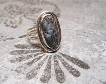 Sodalite Scarab Gemstone Sterling Silver Ring Size 8 and Half