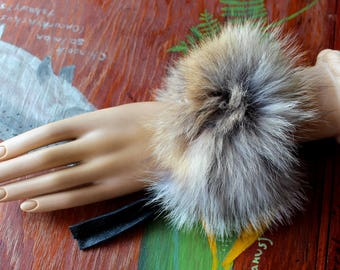 Fur bracelet - Real wild coyote fur bracelet or anklet with recycled leather straps for neotribal costume and festival wear