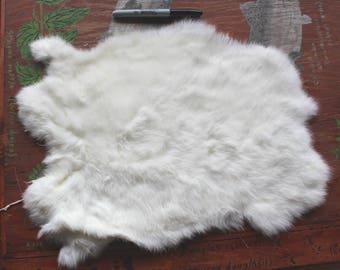 Beautiful real white rabbit pelt fur for crafts, display, more DESTASH