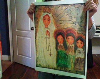 Our Lady of Fatima with Children  - Large Print on Fabric from Original Painting (16 x 20 inches) by FLOR LARIOS