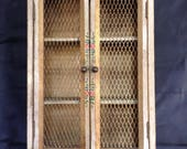 Vintage Wall Cabinet Wood Wire Doors Hand Painted French New Orleans Style