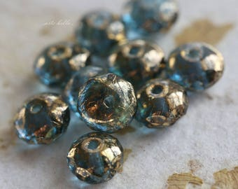GILDED MONTANA No. 2 .. NEW 10 Premium Picasso Czech Rondelle Glass Beads 5x7mm (5868-10)