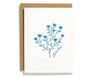 Thanks Floral Branch - Letterpress Thank You Card - CTA225