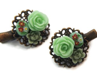 Green Mini Cameo Hair Clips-set of two-Child's Hair-Tween Gift-Fringe Clips-Fashion Accessory-Tiny Details-Simple Fashion-Gifts Under 10