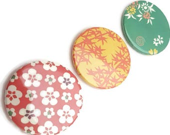 Fridge Magnets Set-refrigerator magnet-kitchen magnets-office round magnets-washi paper magnets-set of 3-handmade magnets-origami paper