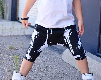 Baby Harem SHORTS or PANTS Black and White Paint Splatter, Toddler Harem Shorts, Cool Kid Clothes, Unique Baby Gift, Hipster Baby
