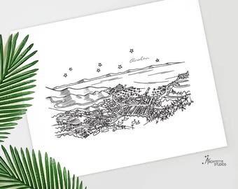 Avalon, California - Santa Catalina Island - United States - Instant Download Printable Art - City Skyline Series