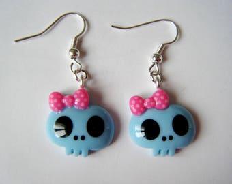 Earrings - skulls - sky blue