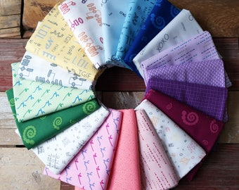 STUDIO 37 A Shout, A Whisper, A Text 18 pc Full Collection Bundle Fat 8th, Fat Quarter, Half Yard, 1 yard, & Fat 16ths!