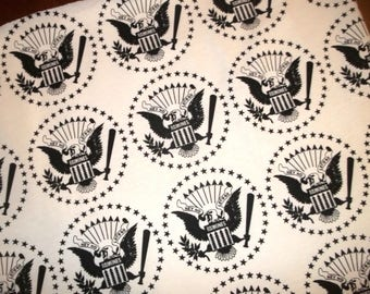 """Remnant Scrap RAMONES Eagle Bird Star """"Hey Ho Let's Go"""" French Terry Cotton Knit Fabric 29x37"""""""