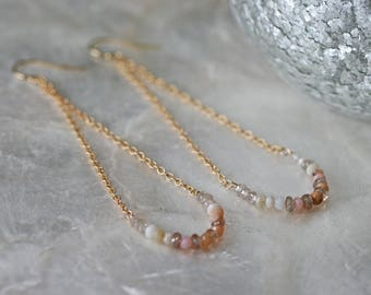 Pink Opal Earrings, Swing Earrings, Smile Earrings, Zircon Earrings, Long Earrings, Beaded Earrings, Gemstone Earrings, Blush Pink Earrings