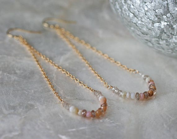 Summer Swing Earrings in Pink Opal Zircon and 14k Gold Filled