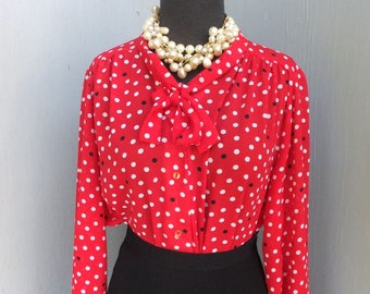 Vintage 1970s Blouse,  Teddi, Red, White and Black Polka Dotted Secretary Blouse, Bow Tie Blouse, Polyester, Size 12