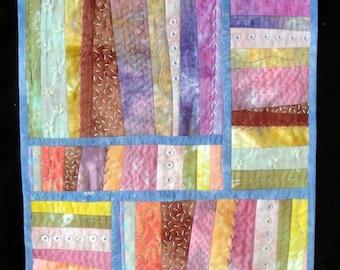 Fiber Art  Garden  |Modern Quilted Wall Art | Purple Blue Pink Orange Hand Embroidery