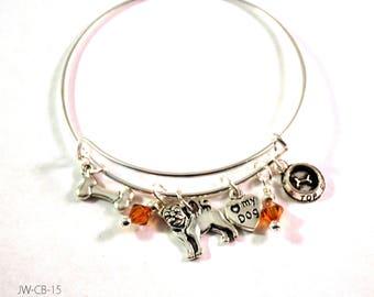 Handmade bracelet, Bangle Bracelet, Charm Bracelet, Bracelets for Women, Pug Charm Bracelet, Dog Bracelet