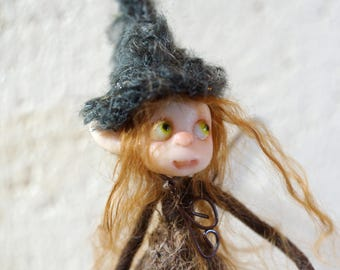 ooak poseable common brown PIXIE fairy ( #11 ) polymer clay art doll by DinkyDarlings   faerie faery angel