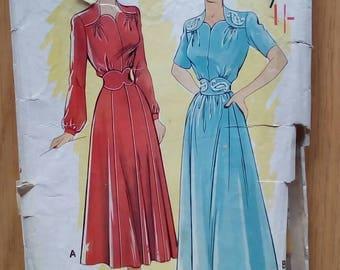 "1950s Dress - 32"" Bust - Economy Design No 195 - Vintage Sewing Pattern"