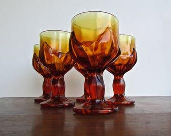 Viking Lotus Chalice in Ambertina Orange, Set of 2,  Mid Century American Barware Wine Goblets