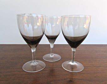 Vintage Modern Smoke Wine Glasses w/ Clear Stem