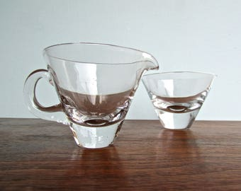 Vintage Modern Kosta Boda Crystal Focus Sugar Bowl & Cream Jug, Scandinavian Glass, MCM Sweden