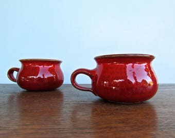 Töpferhof Römhild Germany, Handsome Hand-Built Red Glazed Mugs, High-Gloss Rich Ox-Blood Red w/ Slate-Grey Interior, Mid Century German
