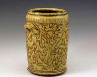 Ash Glazed Carved Oak Leaf Utility Crock/SHIPPING INCLUDED
