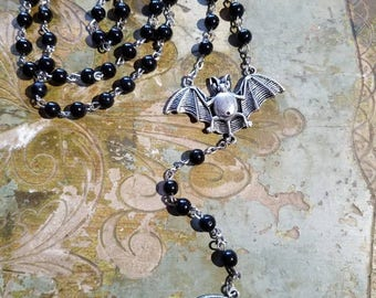 Bat Rosary with Black beads
