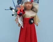 Vintage Fourth of July Composition Doll, Red, White and Blue, Lady Liberty, Silver Crown