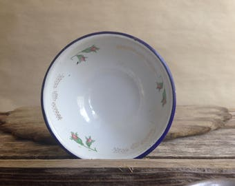 Enamel Ware Bowl, Condiment Size Tres Monterrey Dainty Flowers White with Blue Rim Farmhouse Kitchen Decor