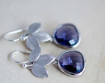 Summer Sale Dangle Earrings, Glass Earrings, Lavender, Drop Earrings, Sterling Silver, Nature, Garden Jewelry, Purple, PoleStar,