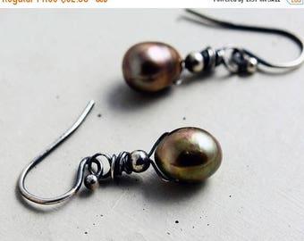 Pearl  Drop Earrings,  Freshwater Pearl Dangle Earrings, Sage Green