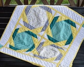Baby Quilt Yellow Jade Gray