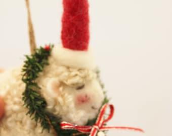 Sheep Ornament, Needle Felted Christmas Ornament, Little White Sheep Prim Needle Felted Sheep #2733