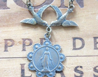 Holy Mary Religious Medal Necklace with Birds