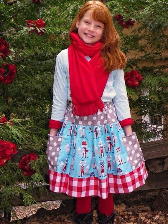 Girls Winter Fox Twirl Skirt - Fox Skirt with Pockets