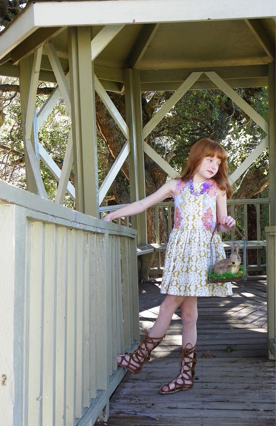 Girls Pink and Gold Easter Dress - Vintage Style Easter Dress