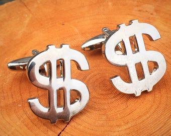 Money Sign Silver Tone Cufflinks