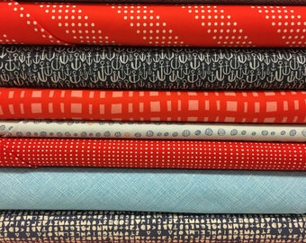 Quilt Sandwich's Nautical Red and Blue Pack - 12 Fat Quarters