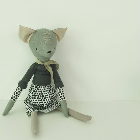 domesticated wood sprite | handmade cloth doll | polka dots and a cozy sweater