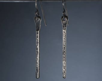 Hammered sterling silver, bar dangle earrings, antiqued finish.