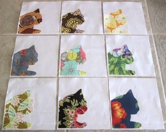 "Set of 9  Window Sill Kitty Cat  6"" x 6""  Cotton Quilt Blocks"