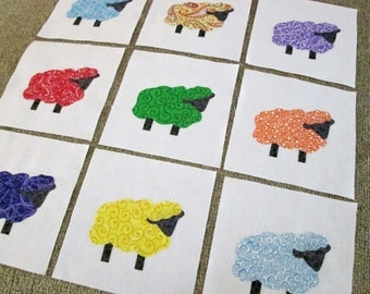 "Set of 9  Bright Sheep  6"" x 6""  Cotton Quilt Blocks"