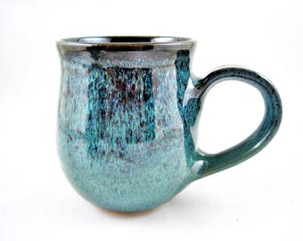 Teal blue coffee mug, 17 oz handmade pottery mug, Ceramic mug - In stock TB-03