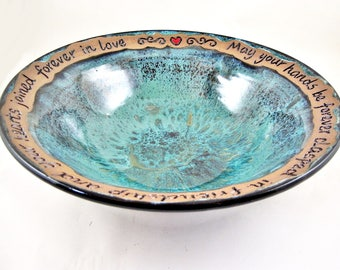 Personalized wedding bowl Handmade ceramic serving bowl with engraving blessing message Teal blue - In stock 143 wb