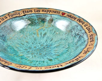 Pottery wedding bowl, Ceramic blessing bowl, Handmade stoneware bowl with custom engraving, Teal blue - In stock 159WB M