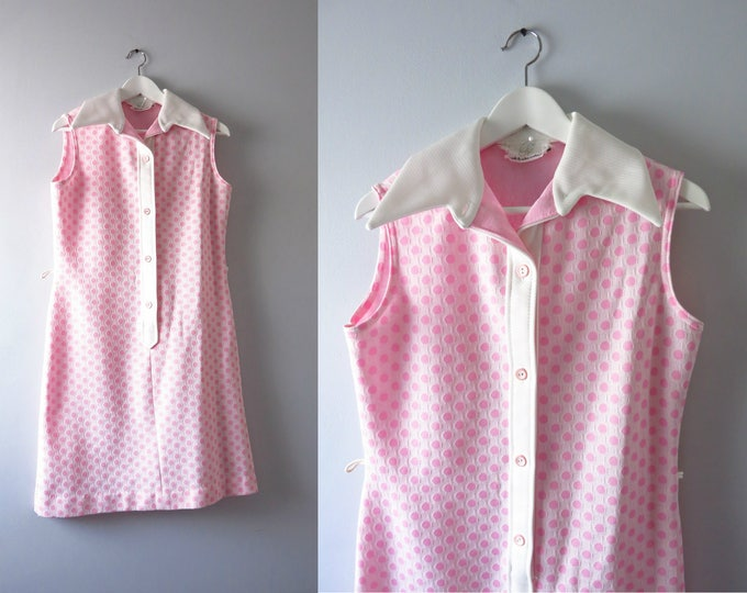 Vintage Mod Pink Dress | 1960s White & Pink Polka Dot Dress L