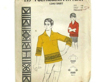 1960s Boy's Hawaiian Shirt / Luau Shirt / Polynesian Pattern 195 / Pullover Shirt / Tiki Shirt / Beach Wedding / UNCUT FF / Size 10